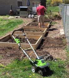 New garden beds! And my new cultivator.